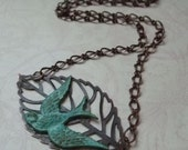 Swallow on a Leaf Necklace - Holiday Sale