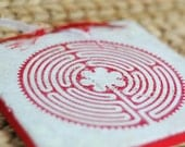 OOAK Embossed Ceramic Labyrinth Tile and Stand, Red