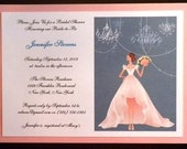 Beautiful Blushing Bride Wedding Shower Invitations