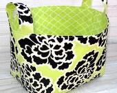 Organizer Basket Fabric Bin - Peonies on Spring Green