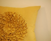 Rose Pillow in Mustard Linen
