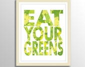 Eat Your Greens - Art Poster Print in green and yellow - 11x14 (28x35 cm)