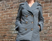 Trench shortie Rain Jacket in Slate Grey Japanese nylon ,very compact, Last one