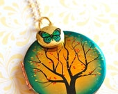 The Tree and the Butterfly Lockets Necklace - Vintage