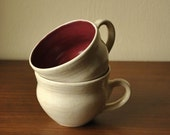 Cranberry and Warm Butter Toffee Porcelain Coffee Cups