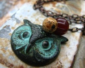 PREORDER The Wise One - brass owl jasper and glass bead necklace