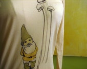 Large -  Gnome and Shrooms - Original Screen Printed Organic Long Sleeve Tee