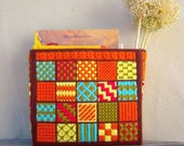 70s Orange Needlework Craft Case / vintage yarn basket