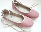 Handmade Pink Natural Linen Vegan Ballet Flats - 901D