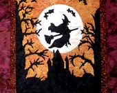 Halloween Wall Hanging Fiber Art Witch Quilt  Batik Black Gold Orange