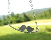 Lovebirds Twittering On A Branch Necklace