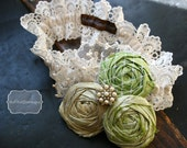 custom boutique to DOT and JUNE couture BRIDAL collection rosette fabric flower wedding lace garter.... made with dupioni silk...can customize colors