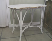 Shabby Painted Wicker Oval Table / Nightstand 2 - Chic