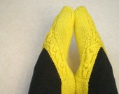 Knitted Knotwork Slippers - Wool Blend - Lemon Yellow