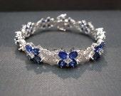 Natural Sapphire Diamond Bracelet In 18K White Gold