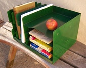 Industrial Metal Desk Organzier/ Green Vintage Filer