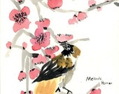 Sparrow in the Plum Blossoms 8x10 PRINT - DONATED BY MELINDOTTY