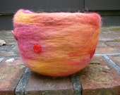 bright red, pink, orange, yellow button wool needle felted bowl