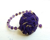 Chained Plum/ Fabric rosette statement bracelet with beads