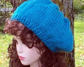 Hand Knit Hat - Slouch Hat in Electric Blue