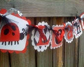 RED BLACK AND WHITE LADYBUG NAME BANNER