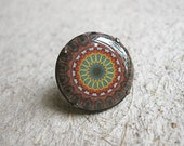 FREE SHIPPING - Brown Kaleidoscope Adjustable Clay Ring