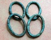 Verdigris Ovals - Patina Brass Links