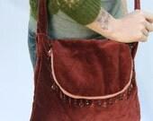 Eco Friendly Handmade Messenger Bag Reclaimed Vintage Mahogany Velvet Beaded Trim