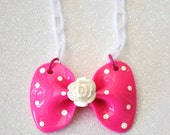 Adorable Flower Polka Dot Bow Necklace - DONATED by glamourpusscouture