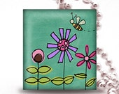 Scrabble Tile Pendant   - TEAL WITH 3 FLOWERS AND A BEE - Buy 2 Pendants Get 1 Free