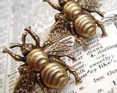 Bee Cufflinks - Classic Brass Metal Miniatures - Victorian Steampunk Accessories