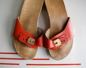 1970's Wooden and Red Leather Sandals