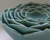 FREE DOMESTIC SHIPPING Eight Nesting Lotus Ceramic Bowls in Matte Green