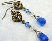Victorian Style, Blue Sapphire Brass Filigree Earrings