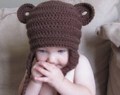 MADE TO ORDER Adorable Baby Bear Touque with Earflaps Sizes Newborn to 5T Chocolate White or Cream