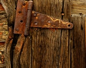 Rusty Barn Hinge, 8 x 10 Metallic Print