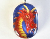 Red and Gold Dragon Oval Art Glass Pendant