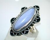 Vintage Artisan Light Blue Agate Sterling Silver Ring