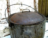 Bubble and Boil Vintage Primitive Cauldron Graniteware for Witches Halloween Berry or Pumpkin Pail FREE SHIPPING