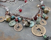 Dynasty lampwork, sterling, copper, agates