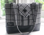 NEW...Everyday Gorgeous, Blk/whte wool Glen Check/leatherette shoulder bag,,,