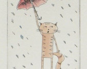 original cat etching and watercolor - singing in the rain
