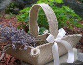 Little khaki burlap flower girl basket