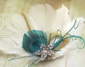 White Oasis -White and Turquoise Feather Hair Piece