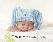 LITTLE BOY BLUE Crochet Newborn Photography Prop Tassle Beanie Photo Prop