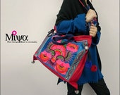 Miyabags Shiny red--Embroidery Tote Shoulder Message bag