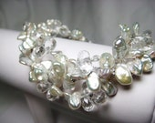Alya Bracelet - White Keishi Pearls, 3 Strand, Clear, Bridal, Free Shipping, Made to Order
