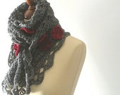 Gray Flowered Scarf