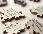 Wood Wedding Puzzle (guest book), 100 pieces, custom puzzle personalized with words & shapes, 17 x 21 inches