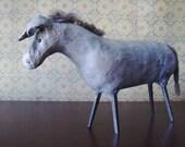 Primitive Folk Art Donkey Paper Mache Sculpture